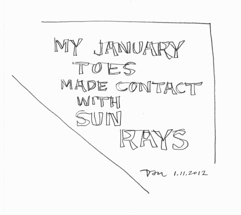 Handwritten words that say My January Toes Made Contact With Sun Rays