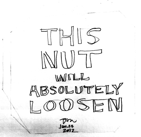 Handwritten words that say This Nut Will Absolutely Loosen