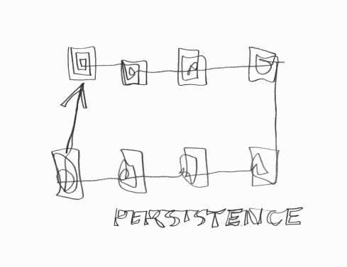 Handwritten words that say Persistence with illustration