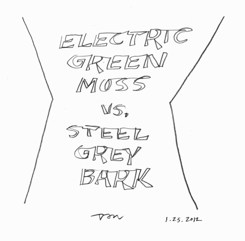 Handwritten words that say Electric Green Moss versus Steel Grey Bark