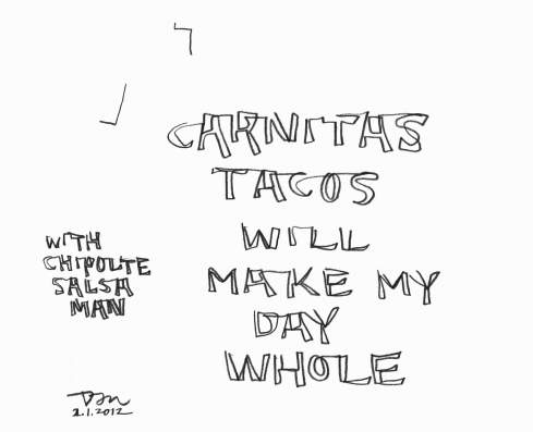 Handwritten words that say Carnitas Tacos Will Make My Day Whole, Chipoltle Salsa Man