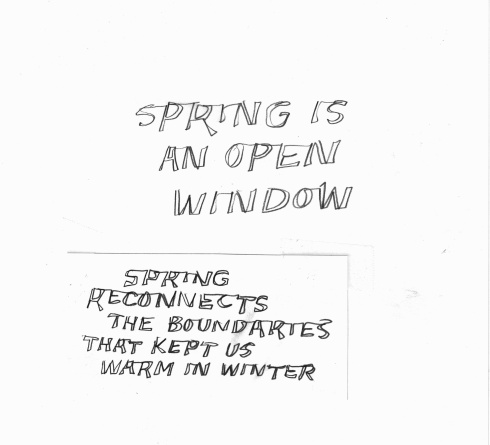 Handwritten words that say Spring Is An Open Window