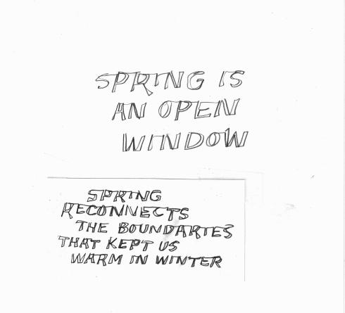 Handwritten words that say Spring Is An Open Window