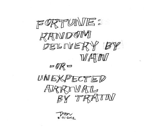 Handwritten words that say Fortune: Random Delivery By Van or Unexpected Arrival By Train